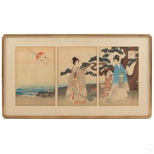 Japanese Antique Triptych Color Wood Block Print