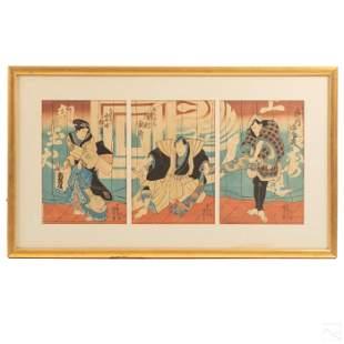Japanese Antique Triptych Color Wood Block Print
