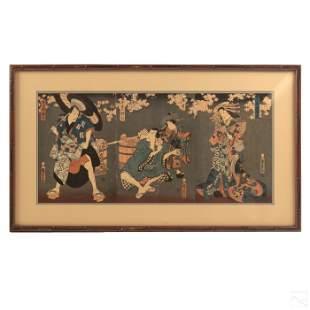 Japanese Antique Triptych Color Wood Block Prints