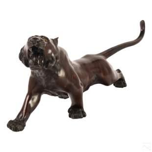 "Japanese Meiji Period 26"" Bronze Tiger Figurine"