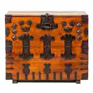Japanese Meiji Metal Mounted Tansu Storage Cabinet