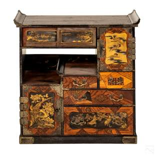 Japanese Meiji Inlaid Table Top Tea Cabinet Chest