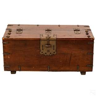 Japanese Meiji Metal Mounted Strong Box Chest