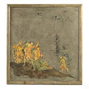 Philip Kelvin LaVerne Chinese Kites Bronze Plaque
