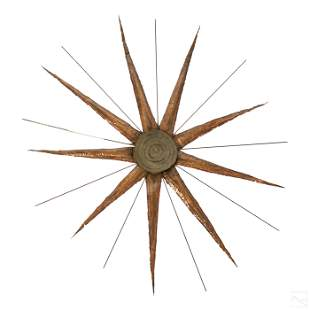Mid Century Brutalist Copper Star Burst Sculpture
