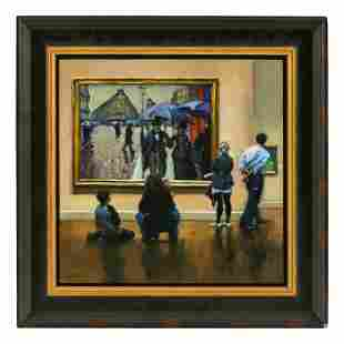 Karin Jurick b.1961 Sidewalk Glances Oil Painting