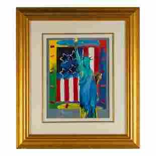 Peter Max (b.1937) Patriotic Liberty Flag Painting