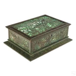 Tiffany Studios Art Nouveau Bronze and Glass Box
