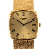 18K Gold Mens Patek Philippe Mesh Band Dress Watch
