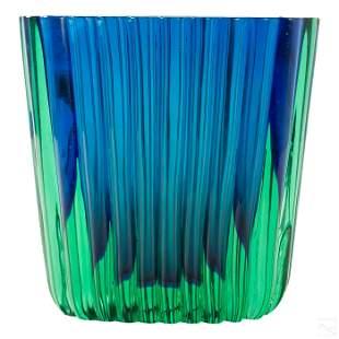 Murano Green & Blue Seguso Ribbed Art Glass Vase