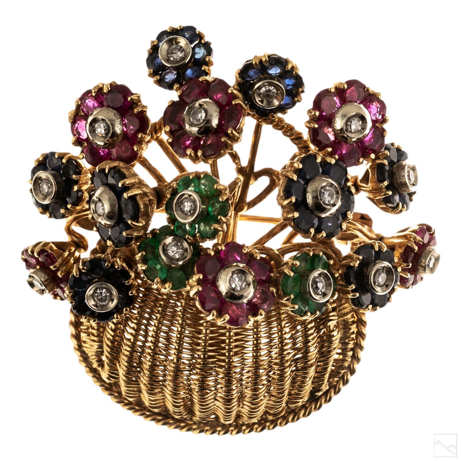 18K Gold Tiffany & Co Diamond Gems Trembler Brooch