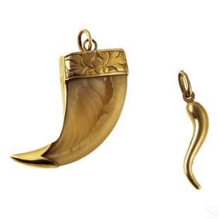 18K Gold Horn & 14K Gold Claw Italian Pendants Lot