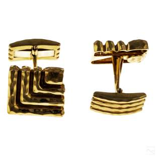 18K Gold Henry Dunay Men's Designer Cufflinks Pair