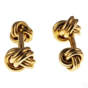 Tiffany & Co. 14K Gold Men's Double Knot Cufflinks