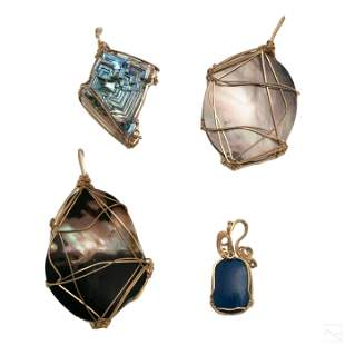 Assorted Hand Crafted Wire Wrapped Stone Pendants