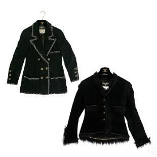 Chanel Black Weave Knit Wool Jackets Group Size 36