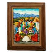 Michel Rouanez (b.1956) Haitian Folk Art Painting