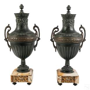 Neoclassical French Antique Metal Garniture Urns