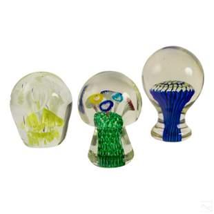 Studio Art Glass Vintage Fine Paperweights Group
