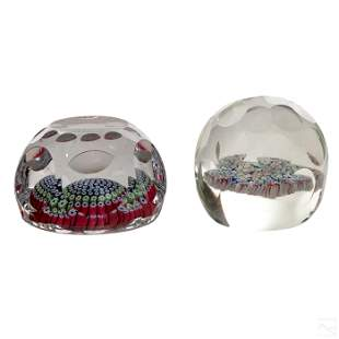 Studio Art Glass Faceted Millefiori Paperweights