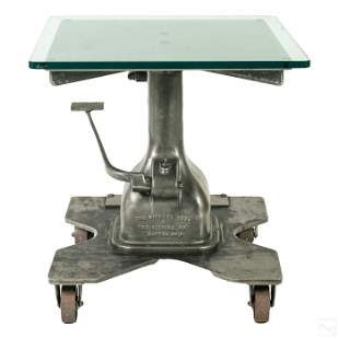 Industrial Glass Top & Steel Pneumatic Base Table