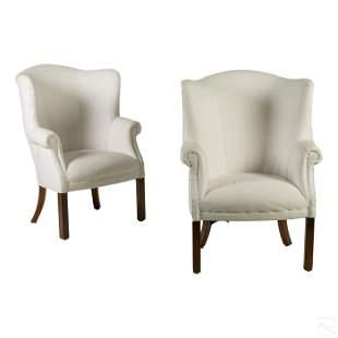"""Ralph Lauren 42"""" Linen Upholstered Wing Chair Pair"""
