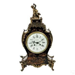 Gubelin Swiss Japanned Lacquer Bronze Mantle Clock