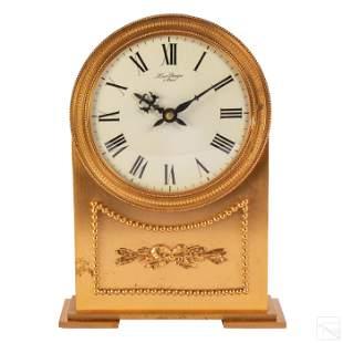 """Hour Lavigne French Art Deco 10"""" Dore Bronze Clock"""
