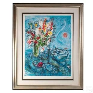 """Marc Chagall 1887-1985 LE """"Dream of Flowers"""" Litho"""