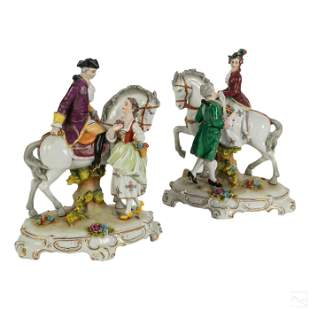 Royal Vienna Porcelain Horse and Lovers Figurines