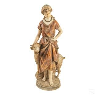 """Alabaster Antique Carved 37"""" Shepherdess Sculpture"""