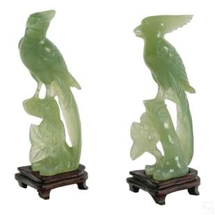Chinese Pair Antique Carved Jade Birds with Flora