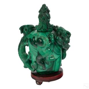 Chinese Green Malachite Dragon & Baby Snuff Bottle