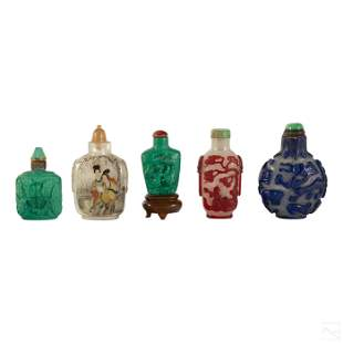 Chinese Antique Stone and Glass Snuff Bottle Group