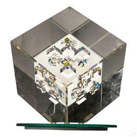 Jon Kuhn (b. 1949) Modern Art Glass Cube Sculpture
