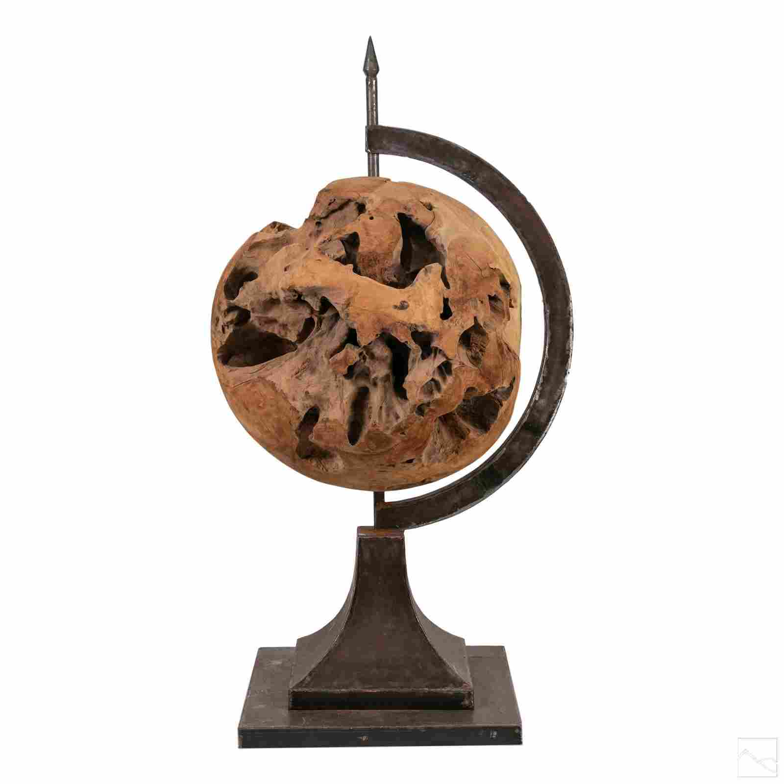 Brutalist Custom Carved Wood and Steel World Globe