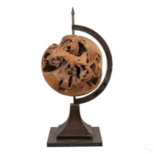 Brutalist Custom Carved Wood and Steel World Globe