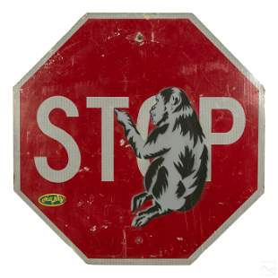 Banksy Style STOP SIGN w/ Monkey Graffiti Painting