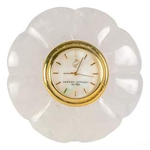 Seaman Schepps Art Deco Carved Rock Crystal Clock