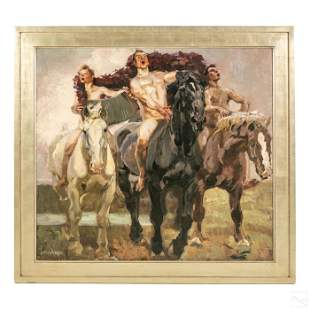 Russian Heroic Realism Nudes on Horse Oil Painting