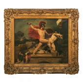 John Wood 1801-1870 Nude Alcibiades Oil Painting