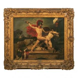 John Wood 1801-1870 Nude Alcibiades Oil Painting