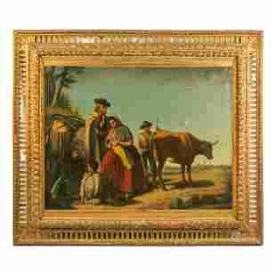 Jose Roldan (1808-1871) Realism Genre Oil Painting