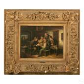 V. Liepold 19th Century Figural Scene Oil Painting