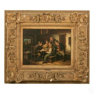 V. Liepold 19th Century Figural Scene Oil Painting