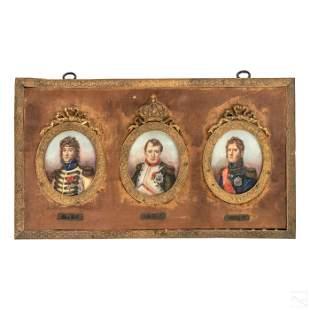 19C French Napoleon Imperial Court Triple Portrait