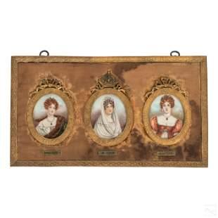 19C French Empress Josephine Triple Court Portrait