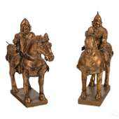 Chinese Tang Horses and Riders Wood Sculpture Pair