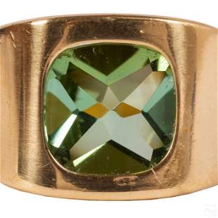18K Gold Men's Designer Signed Green Gemstone Ring