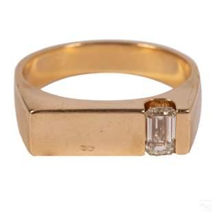 14K Gold Men's Designer Emerald Cut Diamond Ring